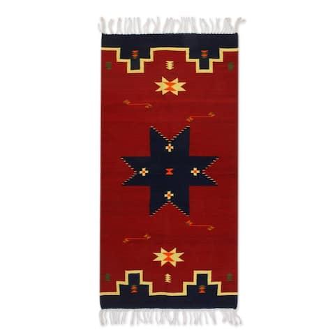 Handmade Universe Star Zapotec Wool Rug (Mexico) - 2'5 x 5'
