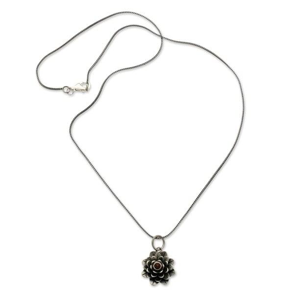 Sacred Red Lotus Handmade Women's Clothing Accessory Sterling Silver Flower Red Garnet Gemstone Jewe