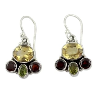 Sterling Silver 'Harmony' Garnet and Citrine Earrings (India)