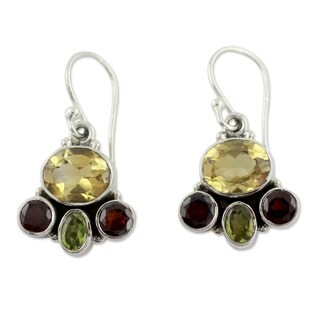 Handmade Sterling Silver 'Harmony' Garnet and Citrine Earrings (India)