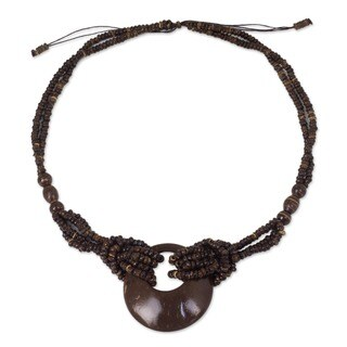 Coconut Shell 'Crescent Moon' Long Necklace (Thailand)