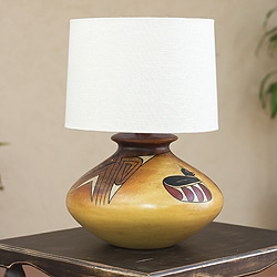 Archeology Light Burnished Ceramic Hand Painted Birds and Arrows Multicolor Graphic Artwork Decor Accent Table Lamp (Mexico)