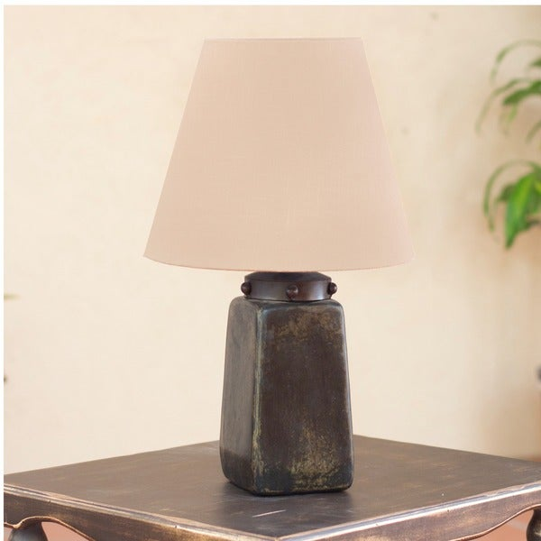 Obelisk Light Burnished Ceramic with Forged Iron and Cotton Shade Aged Weathered Antique Look Decor Accent Table Lamp (Mexico)