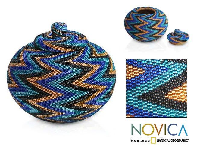 Beaded Rattan 'Ocean Thunder' Basket (Indonesia) - Thumbnail 0