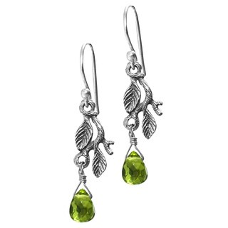 Rainforest Handmade Women's Clothing Accessory Sterling Silver Green Glass Crystal Jewelry Drop Dang