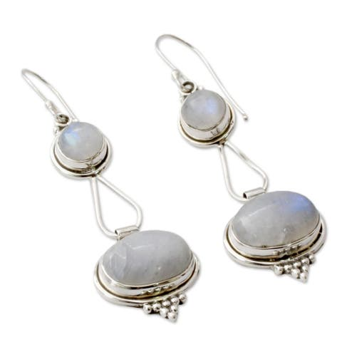 Handmade Oval Drop Moonstone Earrings (India) - Silver/Purple Beads