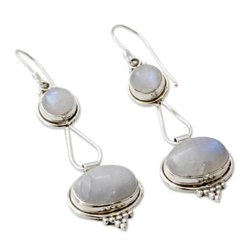Goddesses Round with Oval Drop Moonstone Gemstones in 925 Sterling Sliver Bohemian Hippie Womens Dan - Silver/Purple Beads