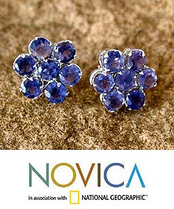 Sterling Silver Iolite 'Cornflowers' Earrings (India)
