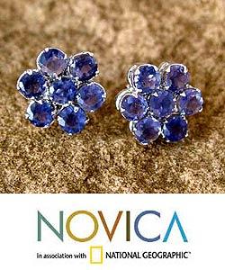 Handmade Sterling Silver Iolite 'Cornflowers' Earrings (India)