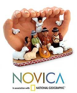 'Peace Nativity' Ceramic Sculpture (Peru)