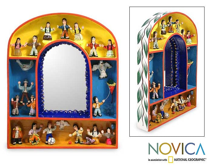 Children's Joy for Peace Artisan Handmade Hand Painted Colorful Wood Yellow Blue Retablo Decorative Home Decor Mirror (Peru)