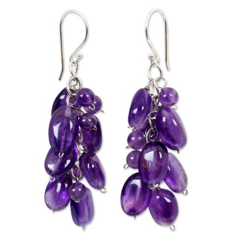 Handmade Sterling Silver Amethyst Violet Clouds Dangling Style Earrings (Thailand) - Purple