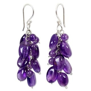Handmade Sterling Silver Amethyst Violet Clouds Dangling Style Earrings (Thailand)