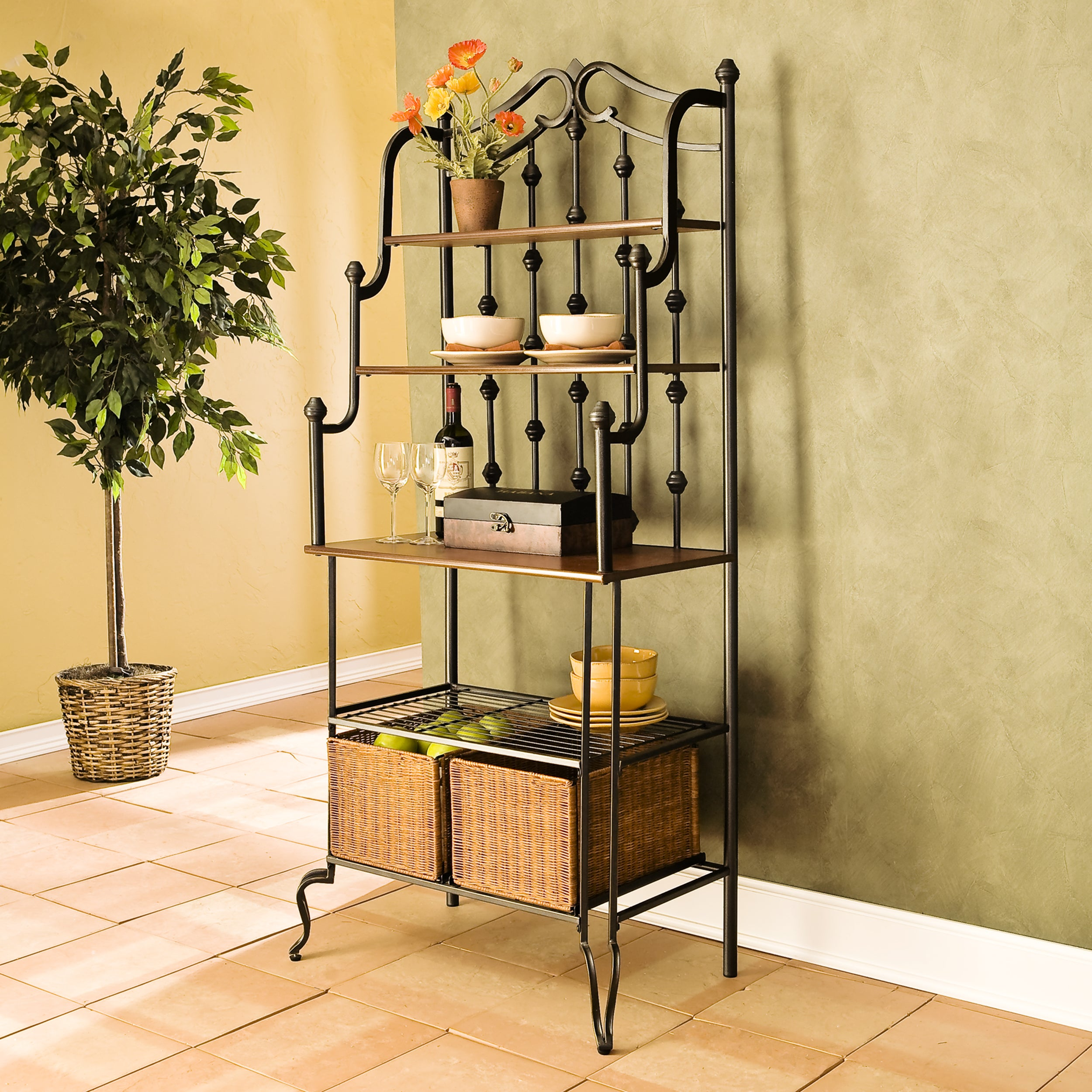Harper Blvd Augusta Black Baker's Rack with Brown Shelves