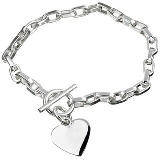 Roberto Martinez Sterling Silver 7.5-inch Heart ID Charm Bracelet