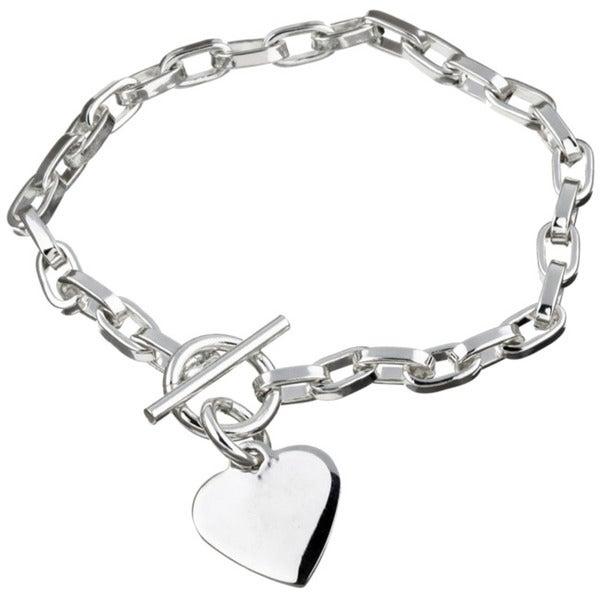 Sterling Silver 7.5-inch Heart ID Charm Bracelet