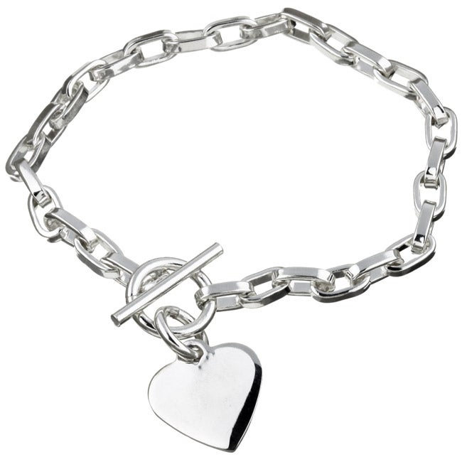 Sterling Essentials Sterling Silver 7.5-inch Heart ID Charm Bracelet