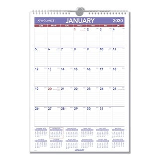 AT-A-GLANCE® Monthly Wall Calendar with Ruled Daily Blocks, 12 x 17, White, 2019