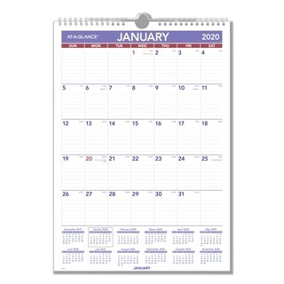 AT-A-GLANCE Monthly Wall Calendar with Ruled Daily Blocks, 12 x 17, White, 2018