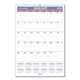 AT-A-GLANCE Monthly Wall Calendar with Ruled Daily Blocks, 15 1/2 x 22 3/4, White, 2018
