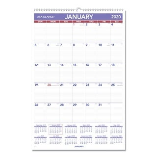AT-A-GLANCE Monthly Wall Calendar with Ruled Daily Blocks, 20 x 30, White, 2019 - White
