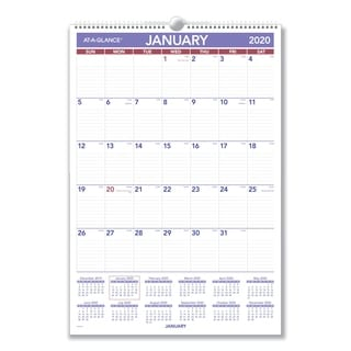 At-A-Glance Wirebound Laminated Monthly Wall Calendar