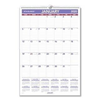 AT-A-GLANCE Erasable Wall Calendar, 15 1/2 x 22 3/4, White, 2019