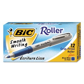 Blue Bic Grip Micro-Fine Rollerball Pen with Strong Metal Point (Pack of 12)