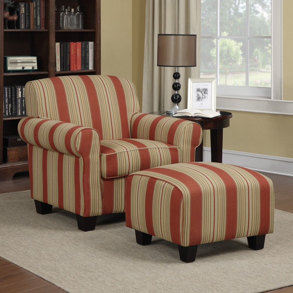 Handy Living Mira Red Stripe Arm Chair and Ottoman