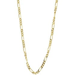 Sterling Essentials 14K Gold over Silver 24-inch Figaro Chain (1.5 mm)