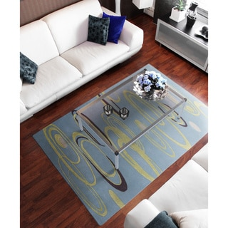 Hand-tufted Baby Blue Contemporary Ripple New Zealand Wool Abstract Rug (8' x 11')
