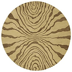 Hand-tufted Contemporary Beige Tienen New Zealand Wool Abstract Rug (8' Round)