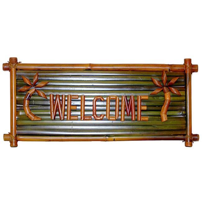 Bamboo 'Welcome' Tiki Sign (Vietnam)