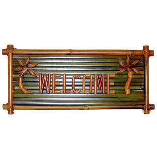 Handmade Bamboo 'Welcome' Tiki Sign (Vietnam)