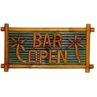 Handmade Bamboo 'Bar Open' Tiki Sign (Vietnam)