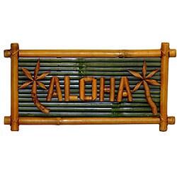 Bamboo 'Aloha' Tiki Sign (Vietnam)