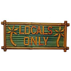 Bamboo 'Locals Only' Tiki Sign (Vietnam)