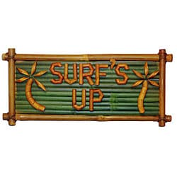 Bamboo 'Surf's Up' Tiki Sign (Vietnam)