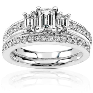 Annello by Kobelli 14k Gold 1ct TDW Emerald-cut Diamond Bridal Rings Set