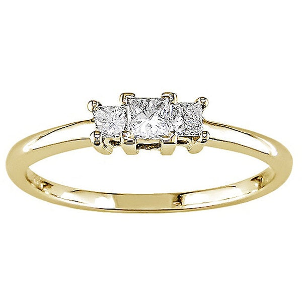 14k Yellow Gold 1/4ct TDW Princess Cut Diamond Ring (H-I, I1)
