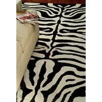 Safavieh Handmade Soho Zebra Ivory/ Black New Zealand Wool Rug - 6' x 9'
