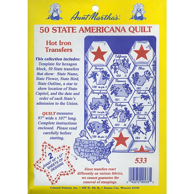 Aunt Martha 50 State Quilt Transfer Pattern (Fabric)