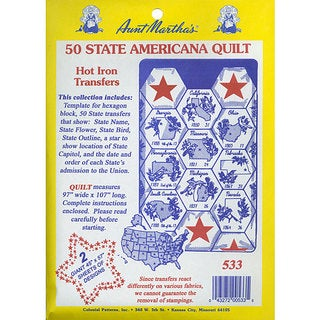 Aunt Martha's 50 State Quilt Transfer Pattern