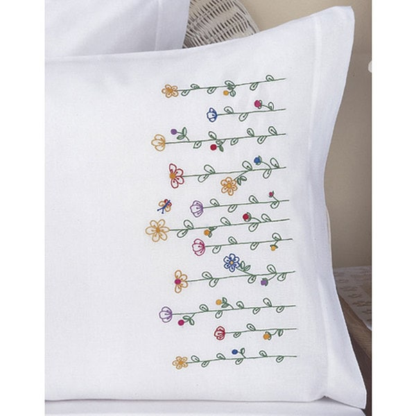 Shop Stamped Embroidery Tall Flowers Pillowcases Kit Set Of 2
