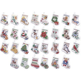 Tiny Stocking Ornaments Counted Cross Stitch Kit (Set of 30)