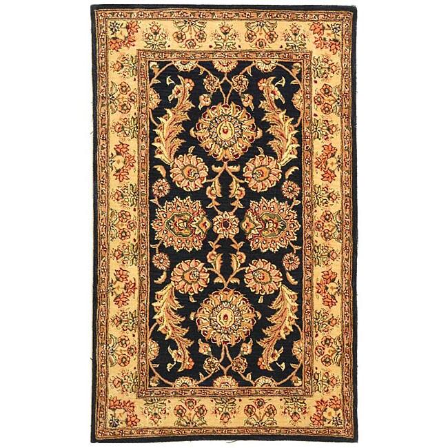 Safavieh Handmade Masterpiece Navy/ Ivory Wool and Silk Rug (4' x 6')