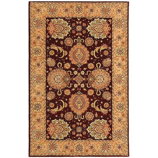 Safavieh Handmade Treasures Burgundy/ Beige Wool and Silk Rug (5' x 8')
