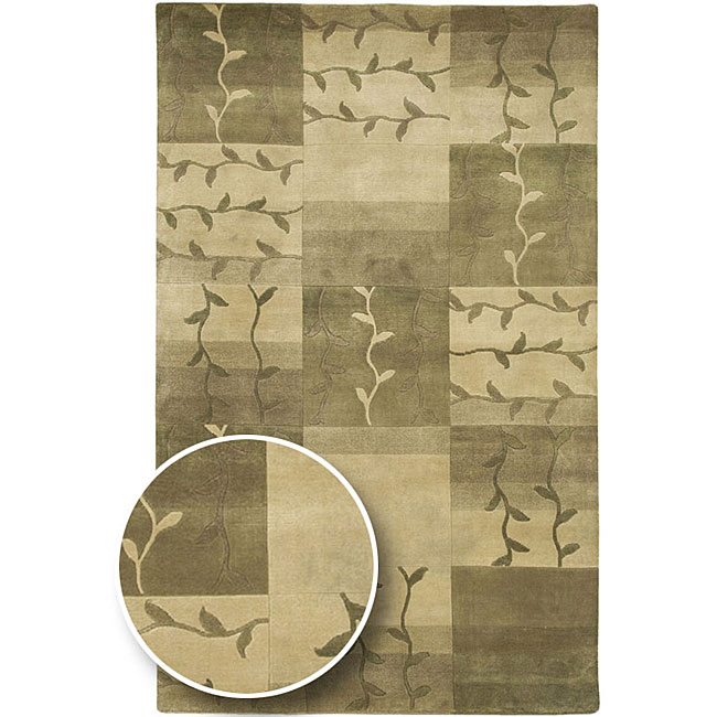 Hand-knotted Green Floral Soldeu New Zealand Wool Area Rug (8' x 11') - 8' x 11'