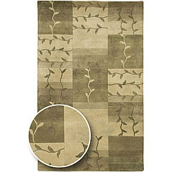 Hand-knotted Green Floral Soldeu New Zealand Wool Area Rug (8' x 11') - Thumbnail 0