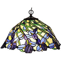 Tiffany-style Leafy Design Bronze Hanging Lamp